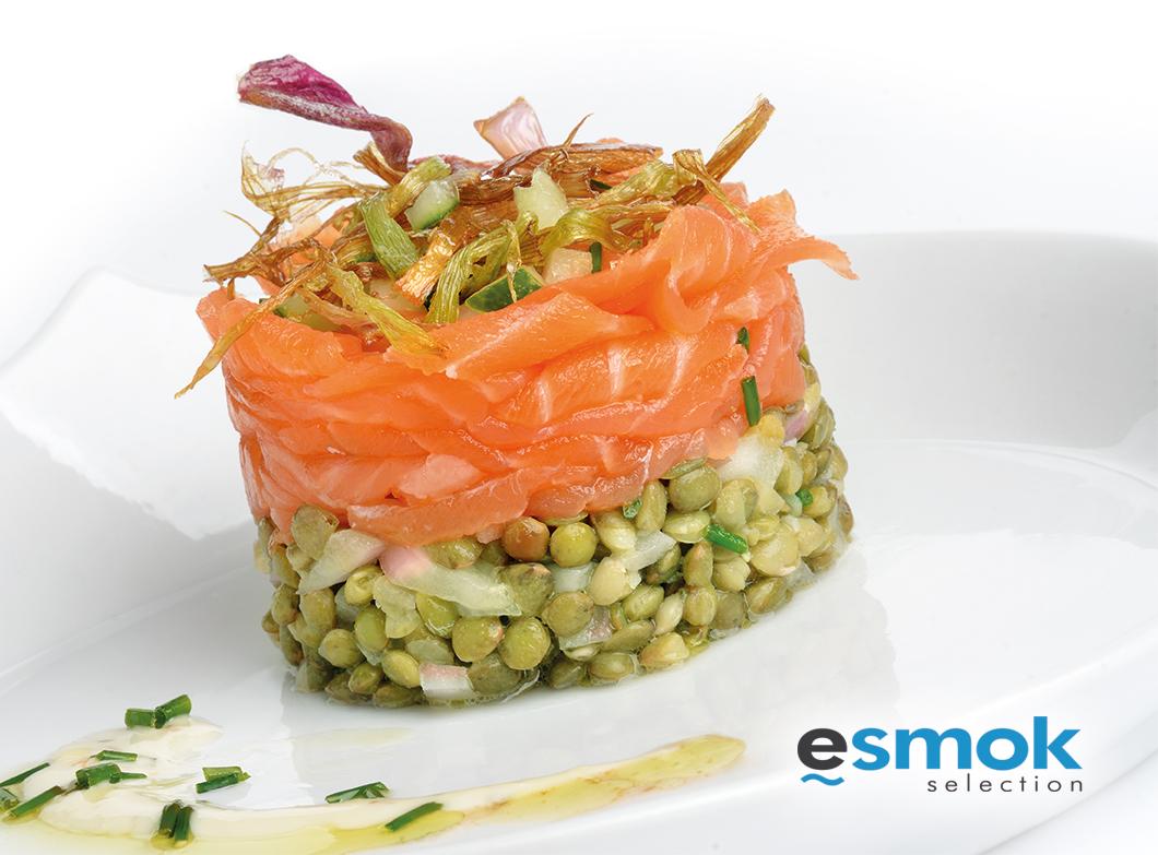 Ensalada de lentejas verdes de Puy y salmón ahumado