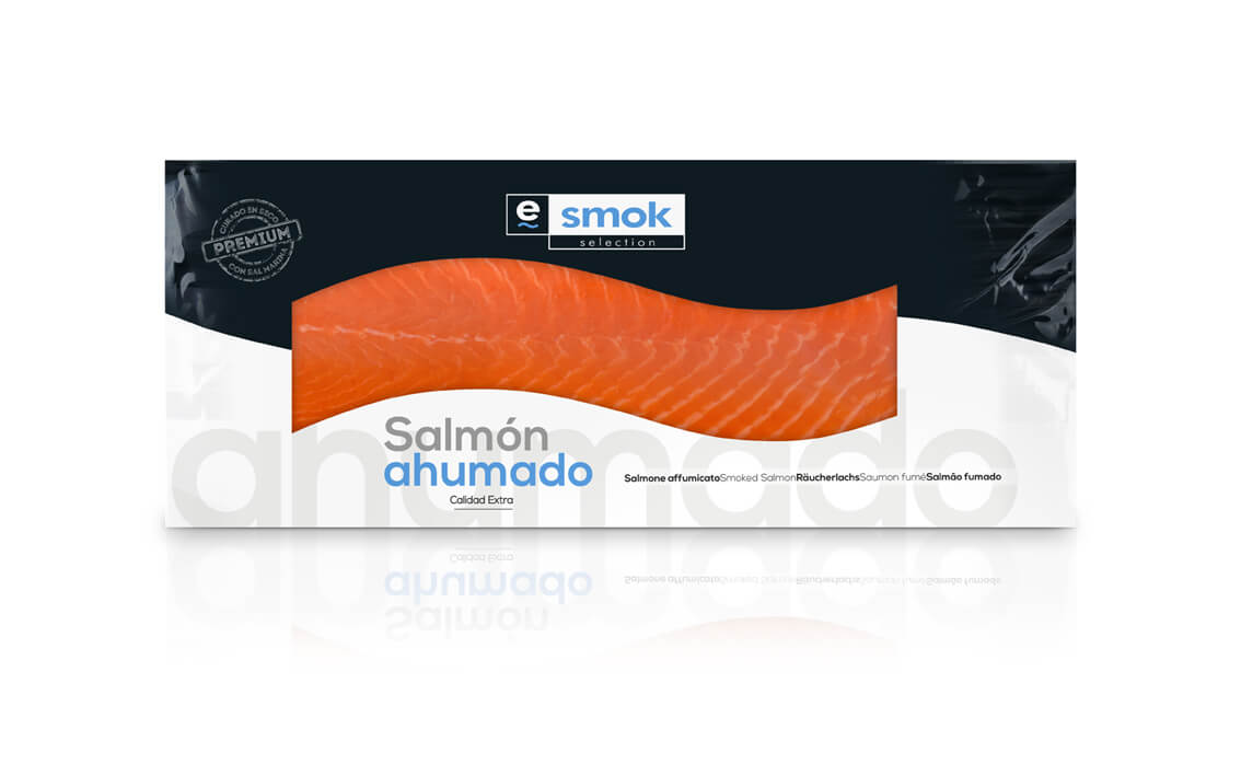 Smoked salmon side in vacuum bag